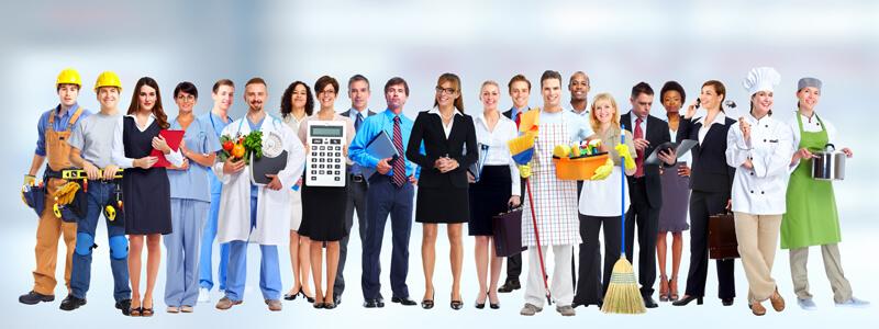 Verschiedene Berufsgruppen in Arbeitskleidung